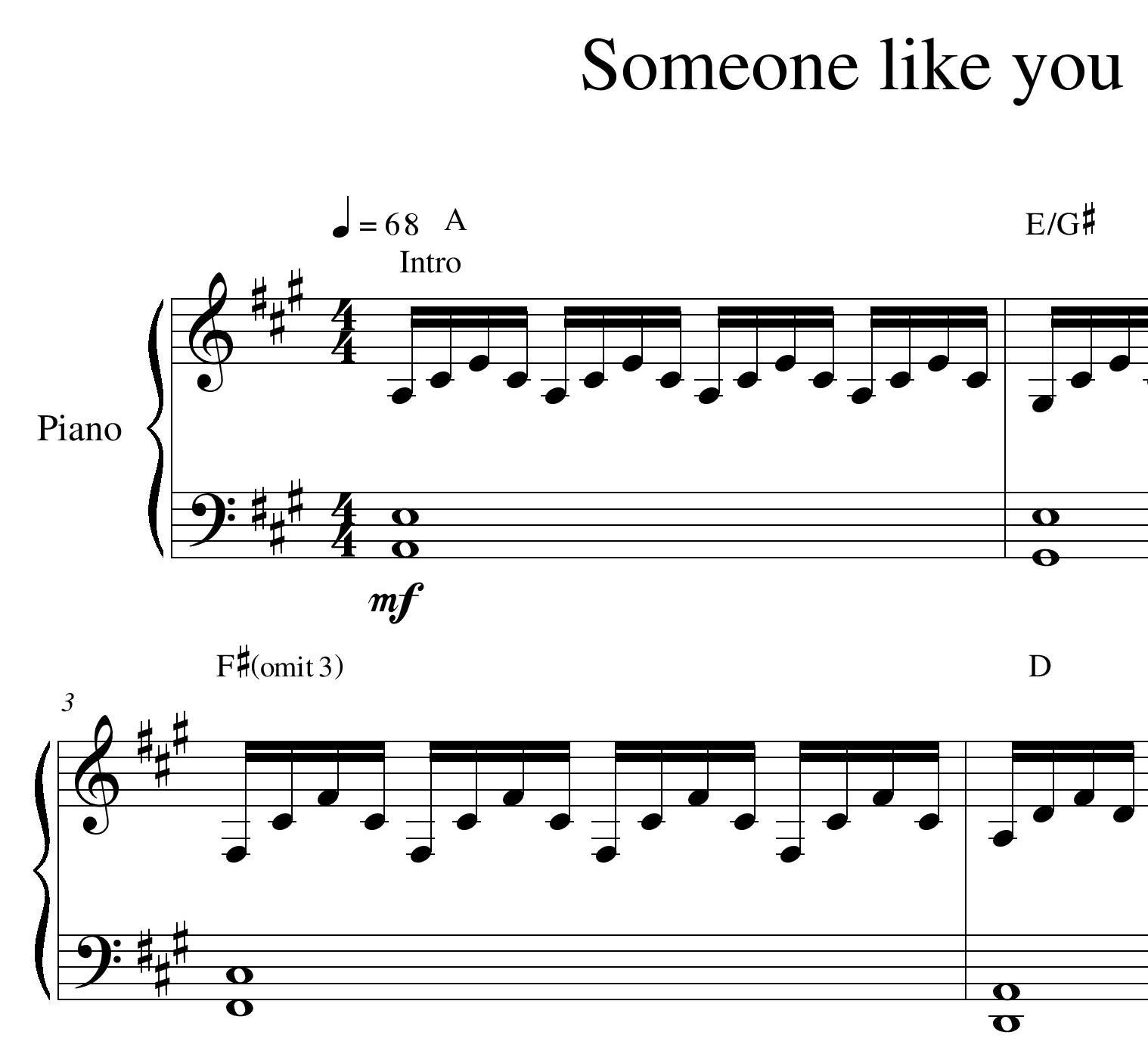 "Adele's ""Someone Like You"" (piano"