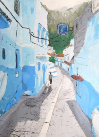 Walking through the streets of Chefchaouen, Morocco