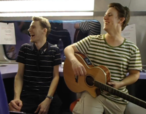 Omashay having a laugh in a TGV