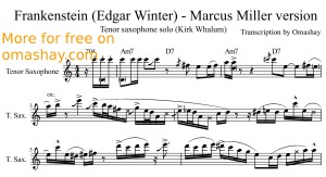 Kirk Whalum - Frankenstein (Marcus Miller version) tenor sax transcription by Omashay - preview