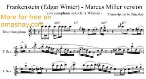 Kirk Whalum - Frankenstein (Marcus Miller version) tenor sax transcription by Omashay - preview