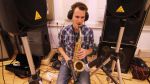 "Recording sax for my ""Classical meets Rock"" project."