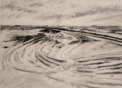 Tractor tracks in Mont Saint-Michel bay